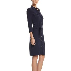 White House Black Market Navy Shirt Dress - NWOT